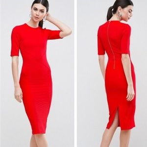 ASOS Red Tall Structured Midi Dress
